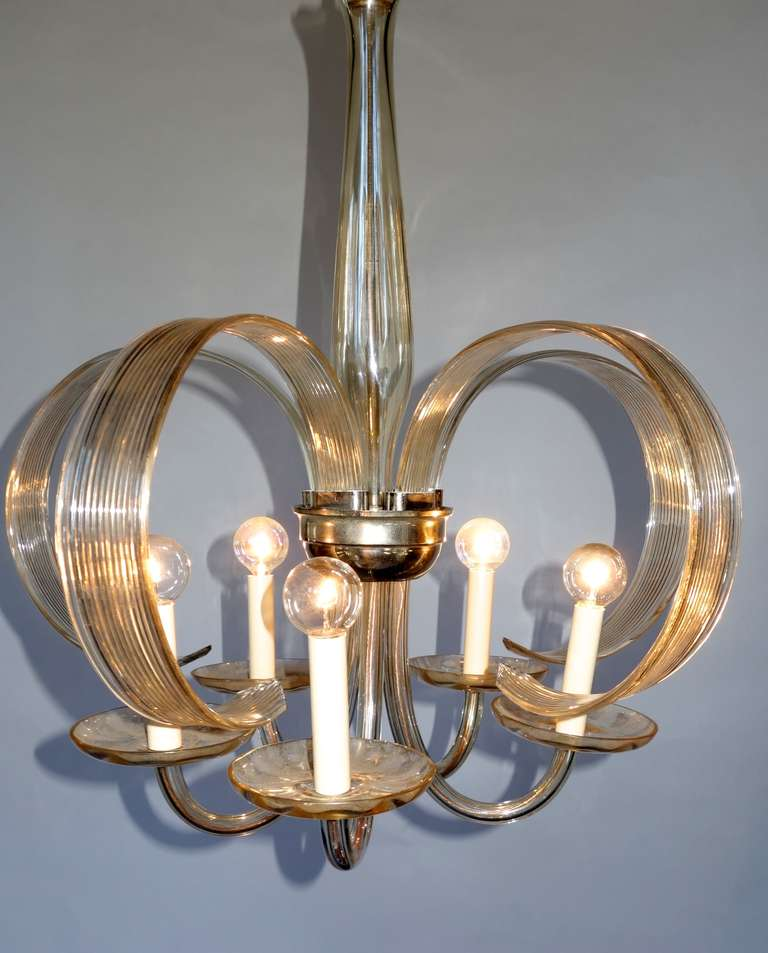 Czech blown glass chandelier at 1stdibs Blown glass chandelier