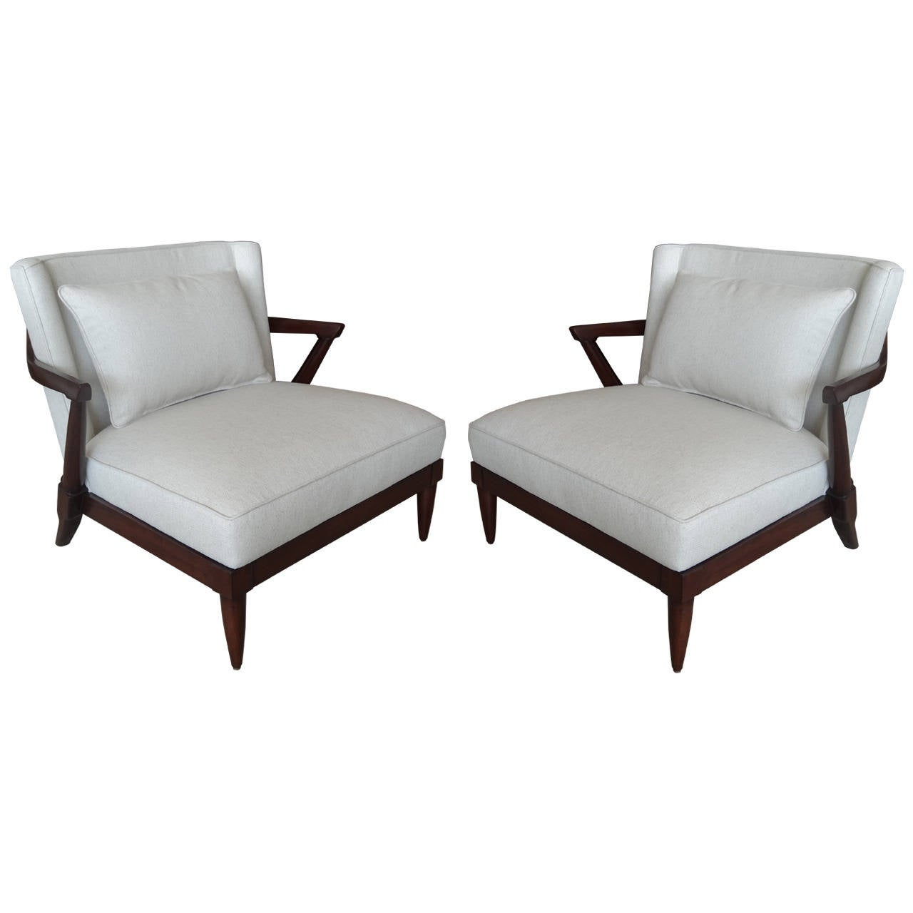 Pair Of Parzinger Style Club Chairs At 1stdibs