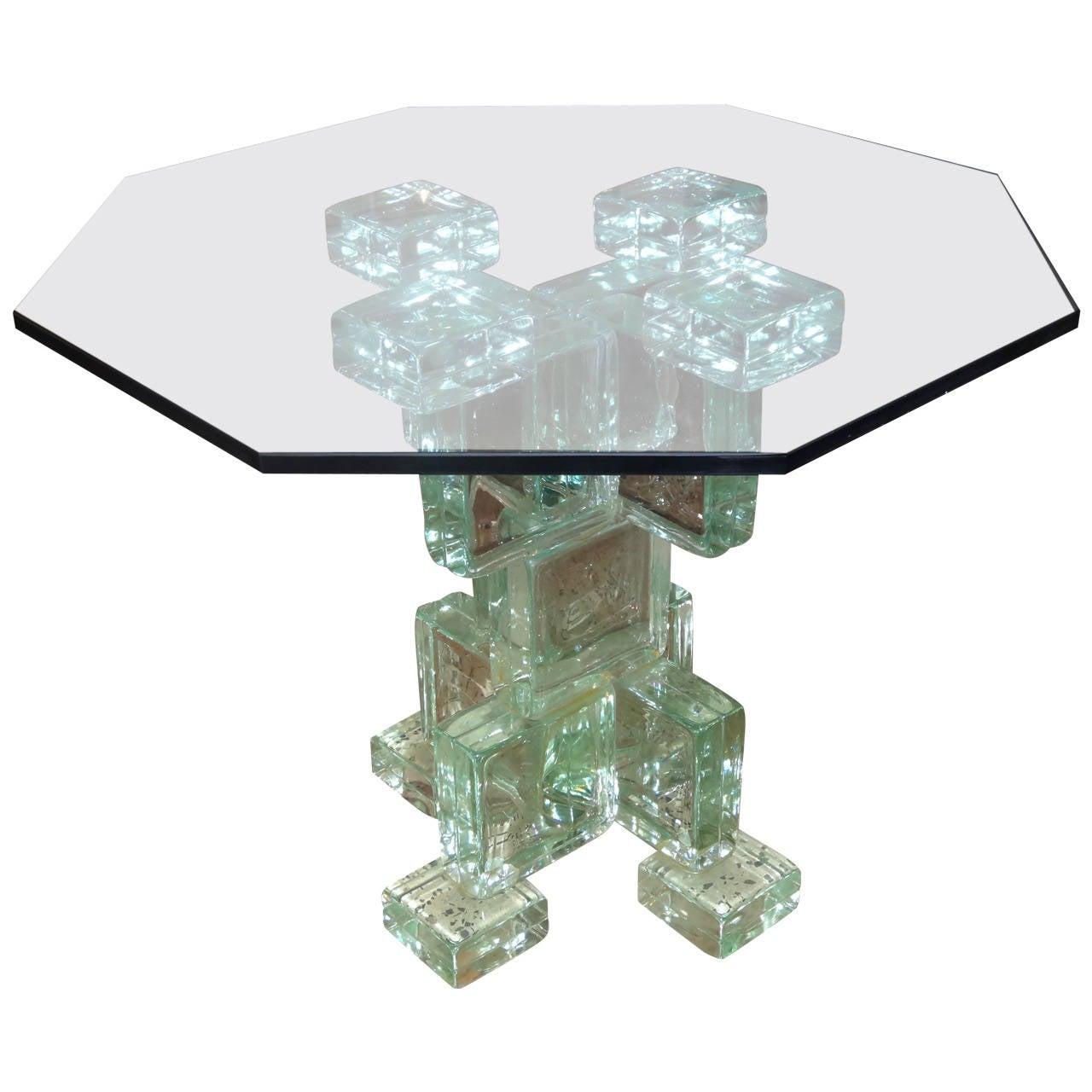 Glass Block Table At 1stdibs