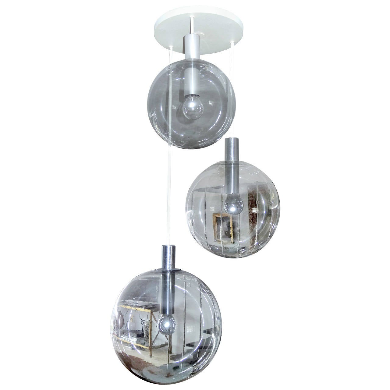 Smoked Glass Ball Chandelier