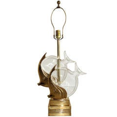 "Brass and Lucite ""Fish"" Lamp"