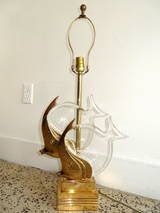 Brass And Lucite Quot Fish Quot Lamp At 1stdibs
