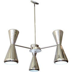 Nickel-Plated Lightolier Chandelier
