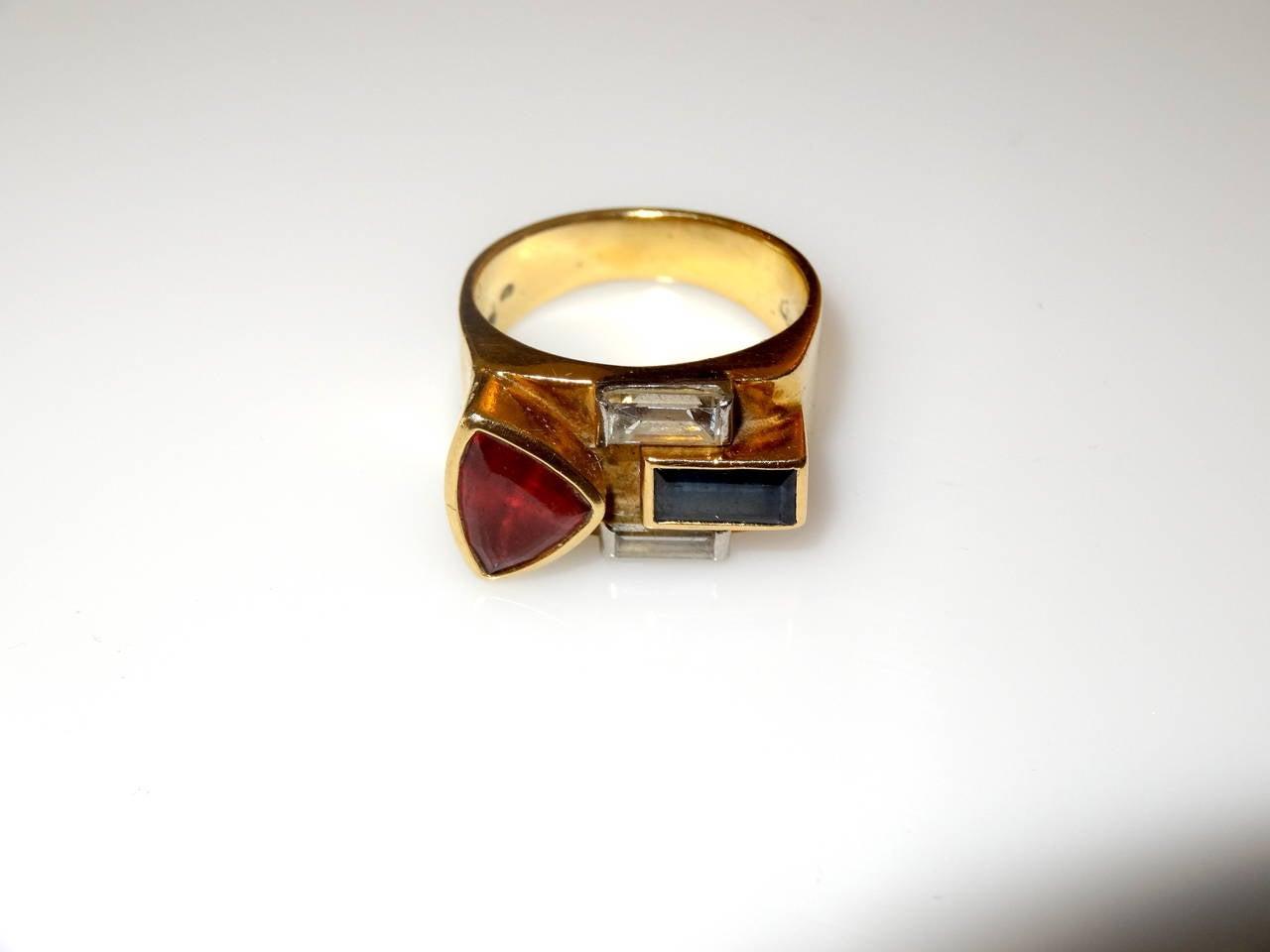 Gold Multistone 18-Karat Ring For Sale