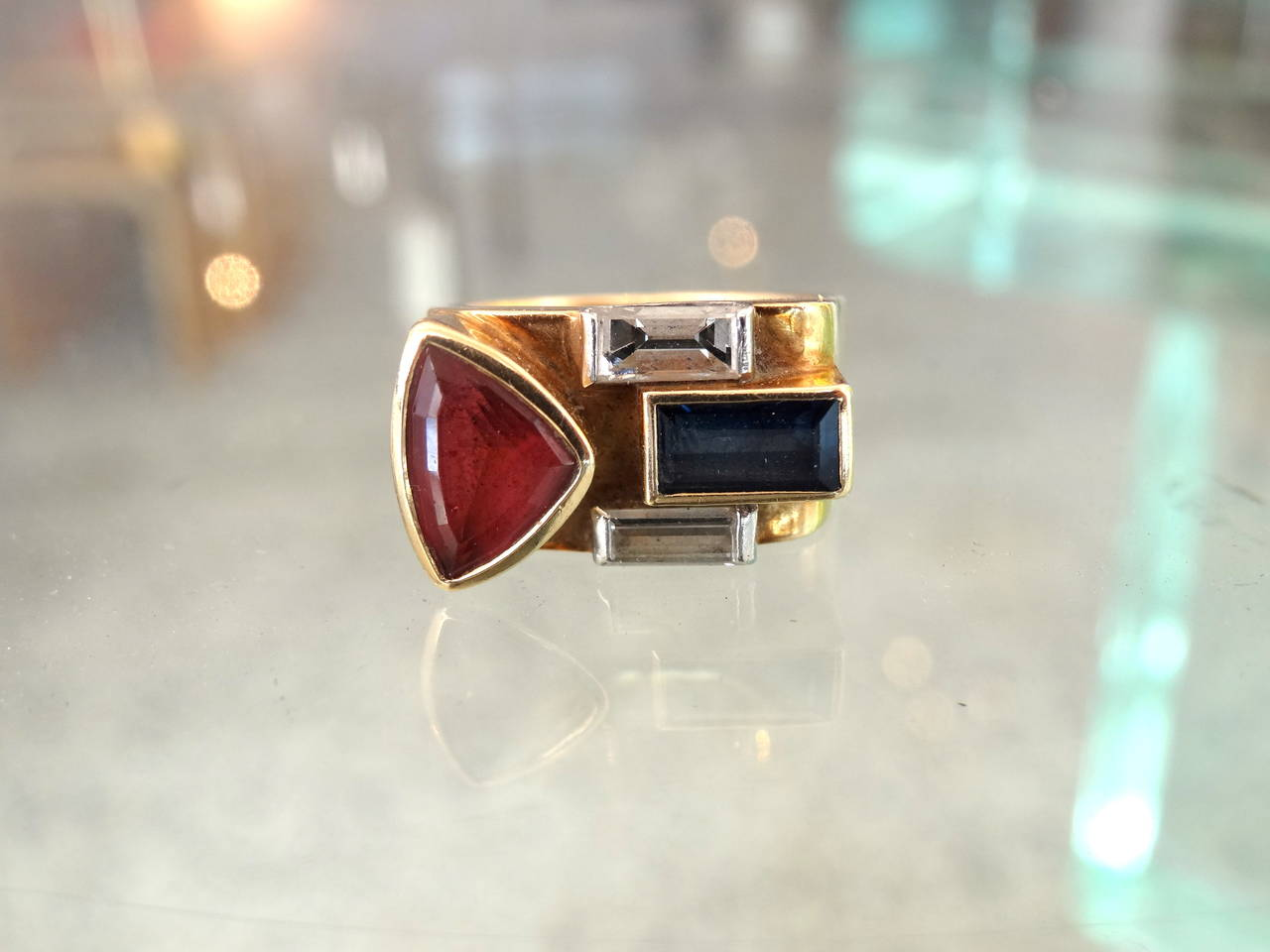 Late 20th Century Multistone 18-Karat Ring For Sale