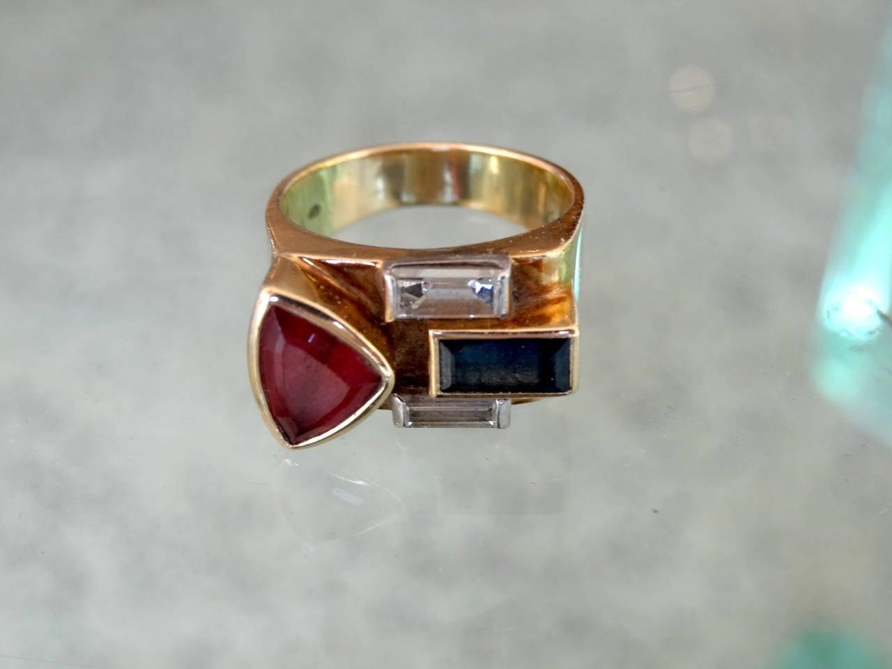 Multistone 18-Karat Ring In Good Condition For Sale In North Miami, FL