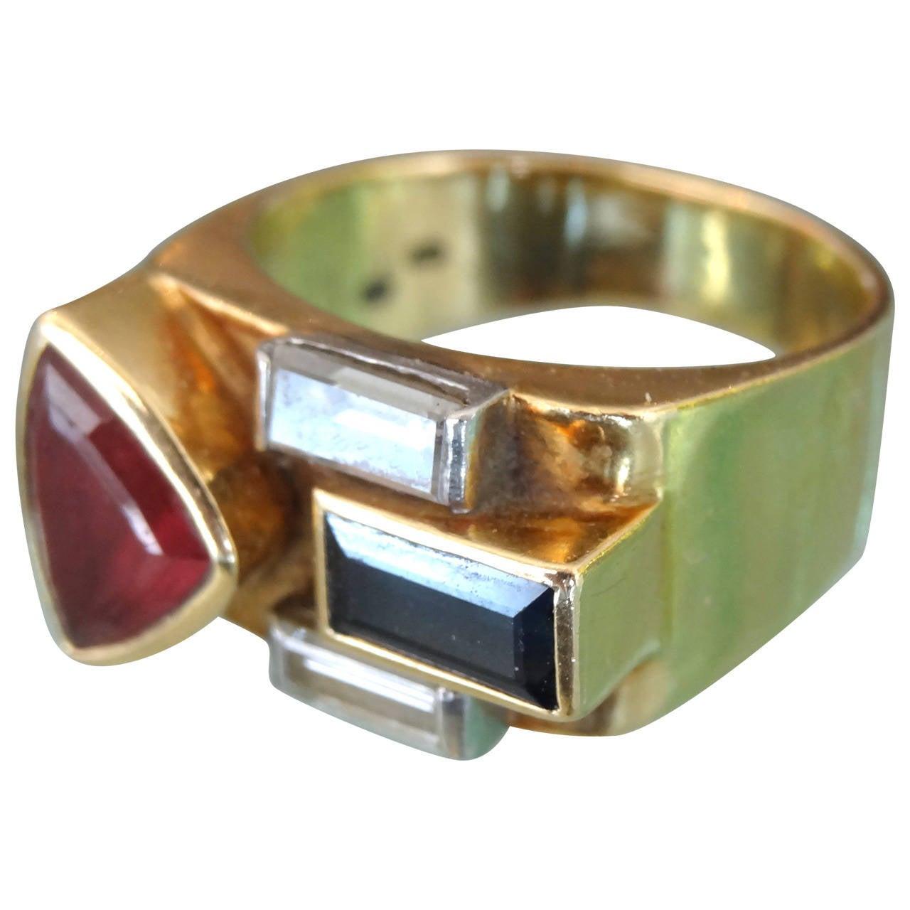 Multistone 18-Karat Ring For Sale