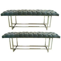 Pair Nickle Plated Benches