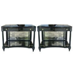 Pair of Ebonized Side Tables