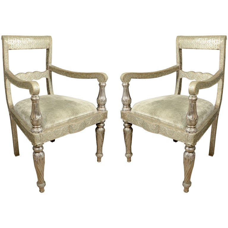 pair pressed tin armchairs at 1stdibs