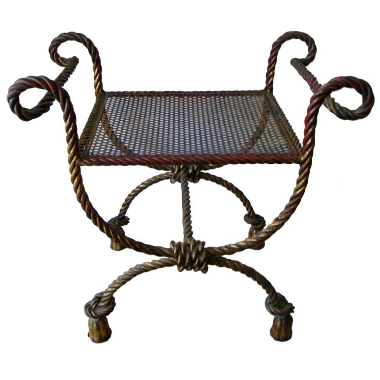 Gilt Metal Quot Rope Quot Bench At 1stdibs