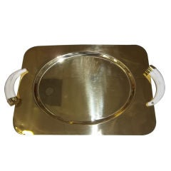 Brass Tray with Horn Handles