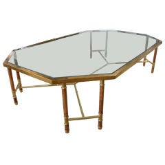 Brass and Olivewood Coffee Table