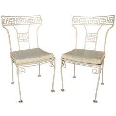 Pair Greek Key Side Chairs