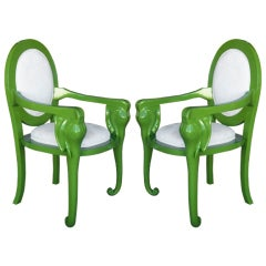 Pair Lacquered Elephant Armchairs