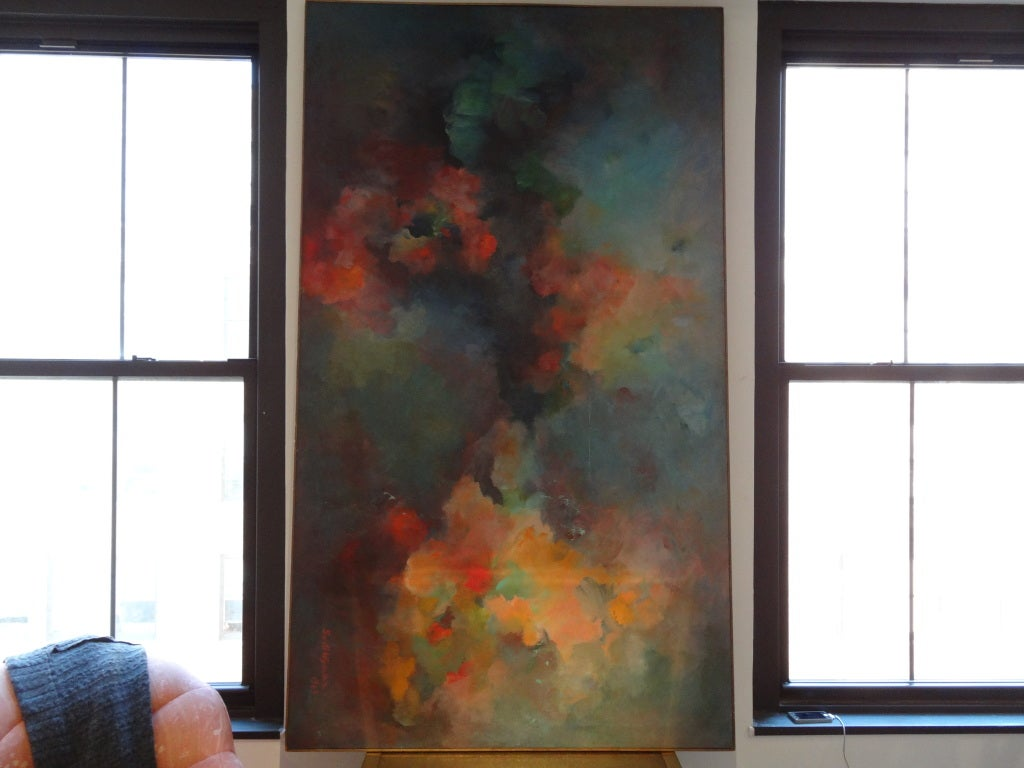 Mid-20th Century Abstract Painting Signed Gusti Wyman For Sale