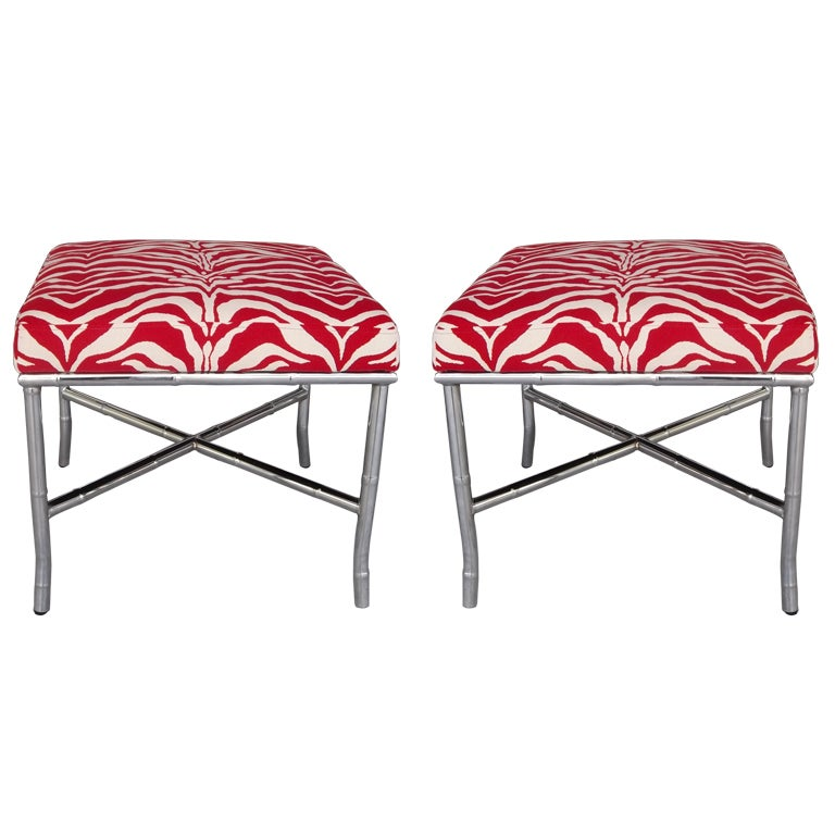 Pair chrome faux bamboo ottomans at 1stdibs