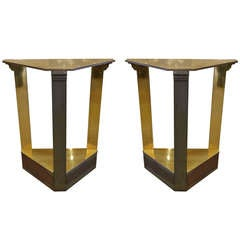 Pair of Brass Pedestals/End Tables Attributed to Mastercraft