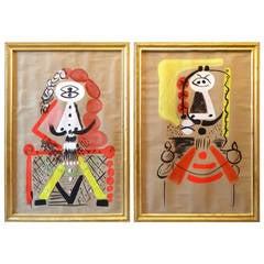 Pair of Surrealism Paintings