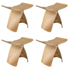 Set of four Sori Yanagi Butterfly Stools