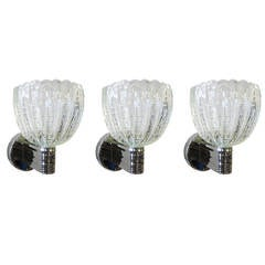 Great Set of 3 Barovier and Toso Pulegoso Wall Sconces