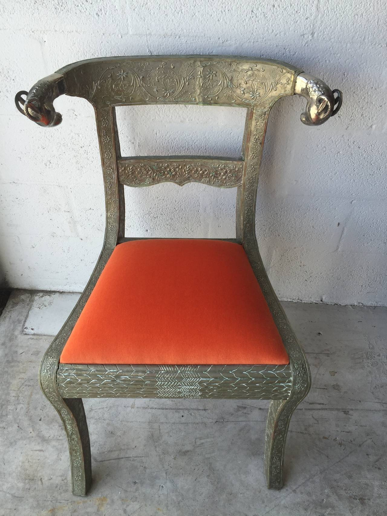 Pressed Tin Ram Head Chair At 1stdibs