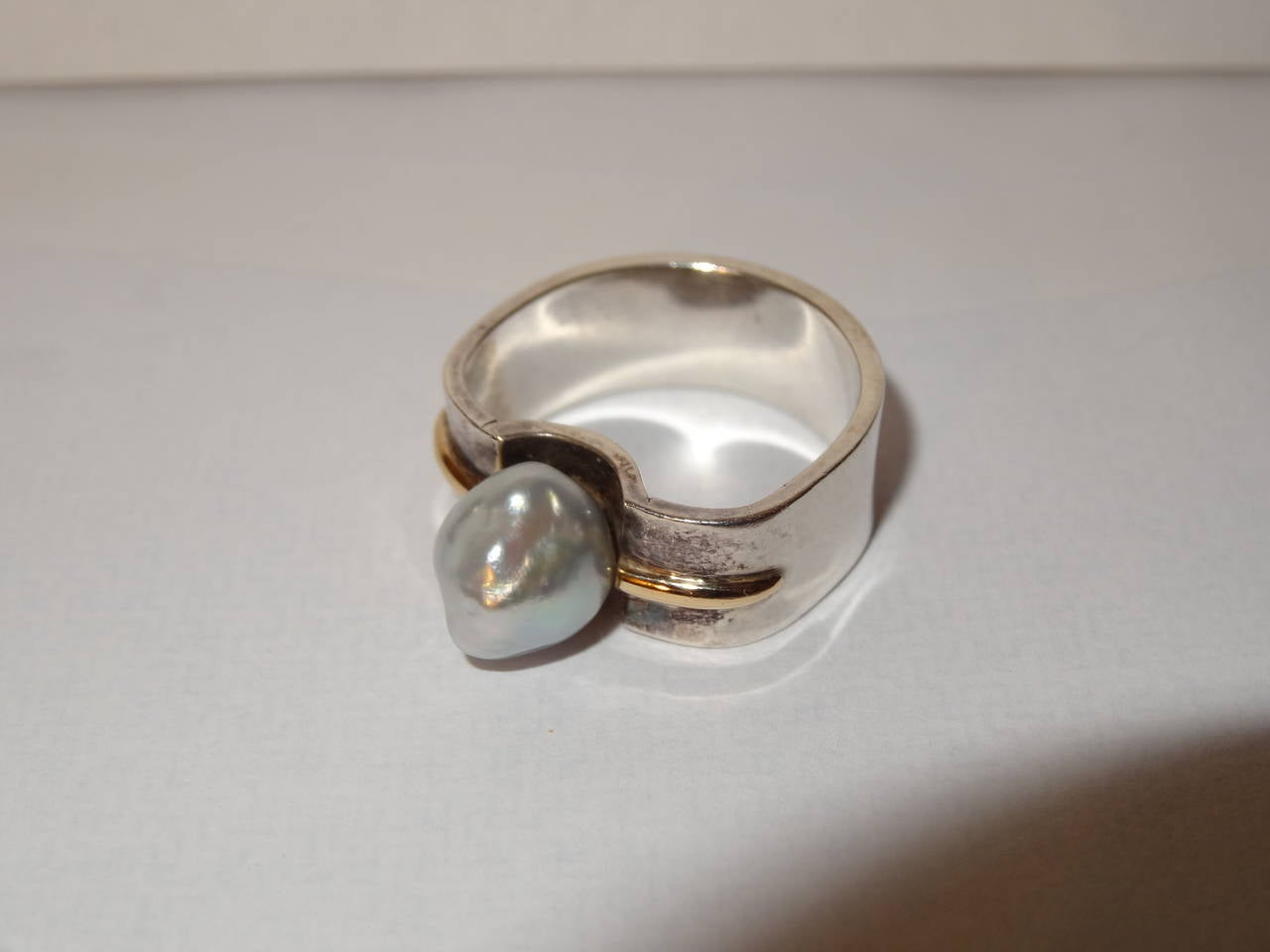 Natural Pearl or Gold and Sterling Silver Ring by Kerber Design In Good Condition For Sale In North Miami, FL