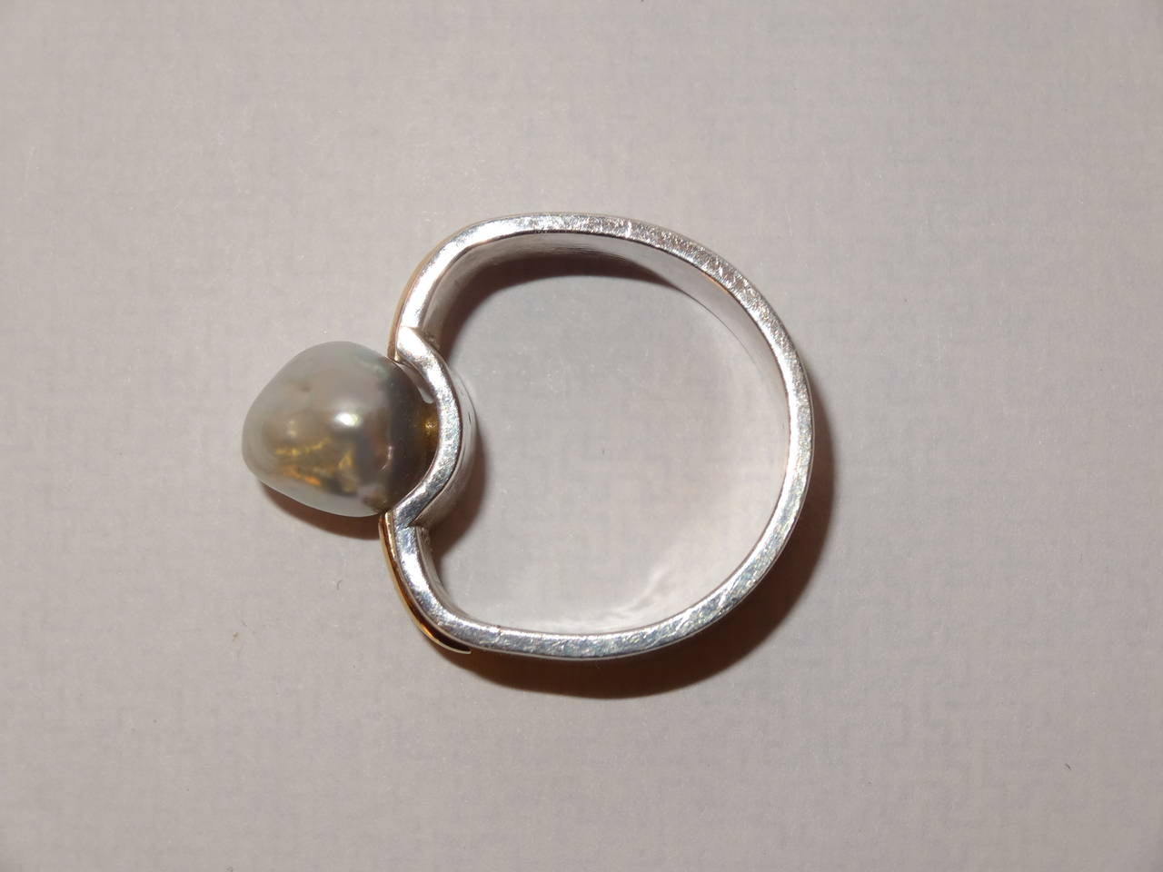 Natural Pearl or Gold and Sterling Silver Ring by Kerber Design For Sale 1