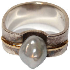 Natural Pearl or Gold and Sterling Silver Ring by Kerber Design