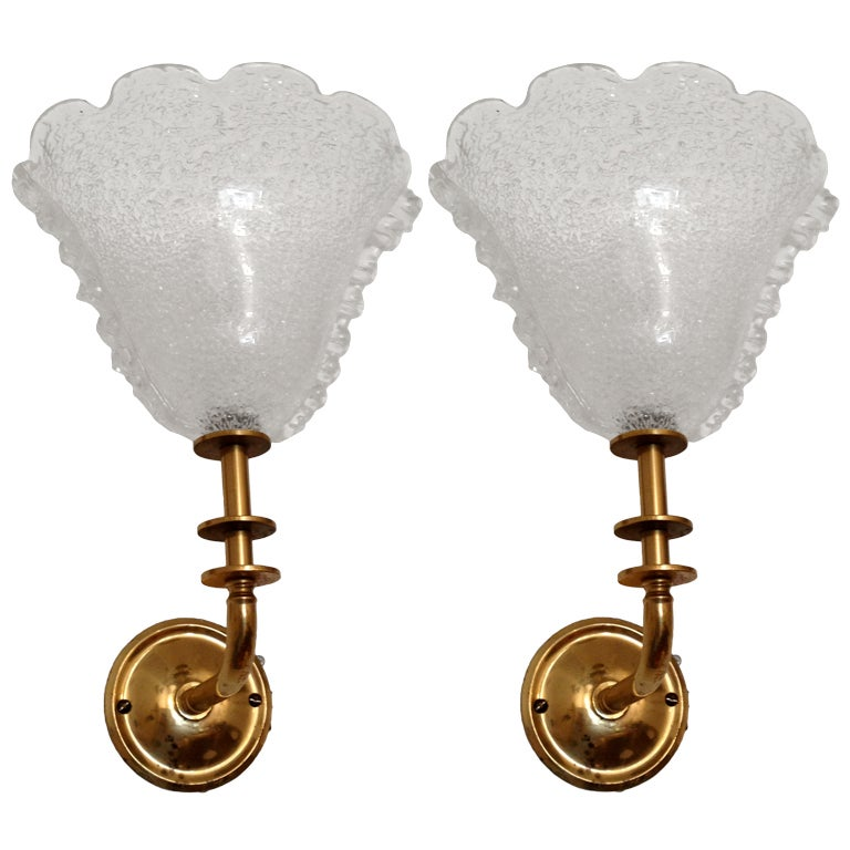 Pair of Barovier Murano Glass Sconces