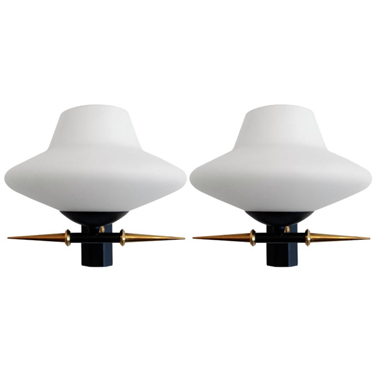 Pair of French Lunel 1960s Wall Lights For Sale