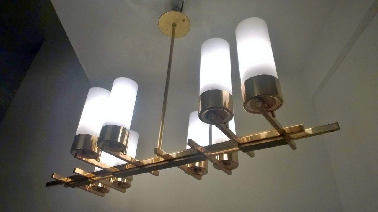 Brass French 1960s Modernist Chandelier For Sale