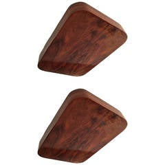 Pair of French Flame Mahogany Flush Pendants