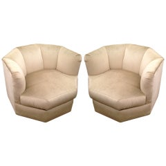 "Pair of 1970's Deco ""Prisma"" Swivel Chairs"