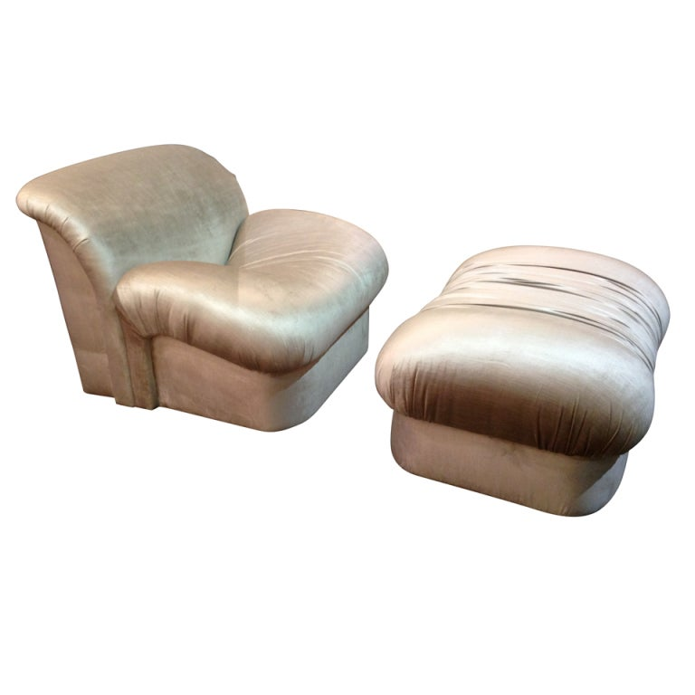 "1980s ""High Style""  Chair and Ottoman 1"