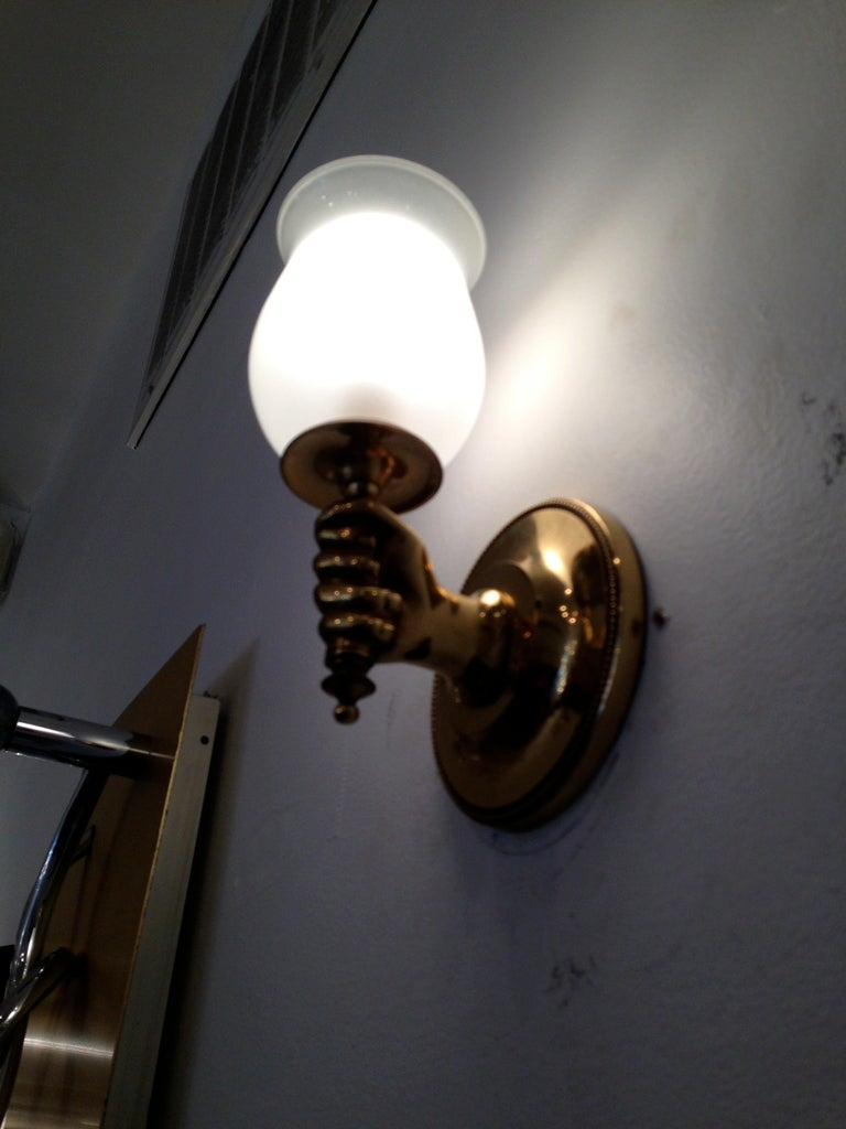 Brass French 1960s Regency Wall Lights For Sale