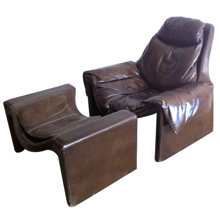 Rare 1970s Vittorio Introini for Saporiti Lounge Chair and Ottoman