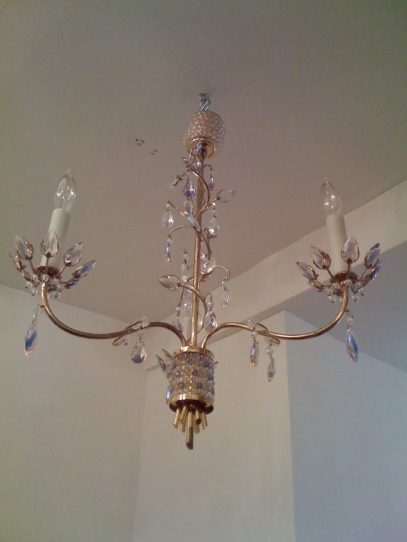 Mid-Century Modern Jl Lobmeyr Colored Crystal Chandelier For Sale