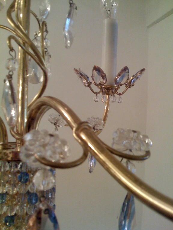 Austrian Jl Lobmeyr Colored Crystal Chandelier For Sale