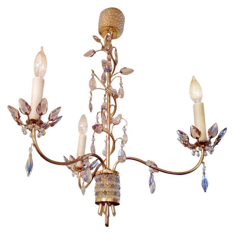 Jl Lobmeyr Colored Crystal Chandelier For Sale