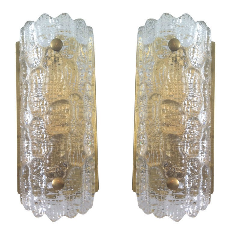 Pair of Orrefors Glass Fifties Sconces