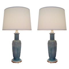 Pair of 1940s Glass Table Lamps
