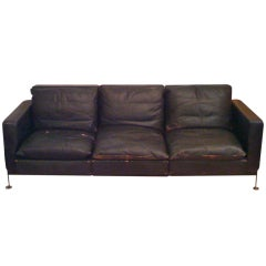Robert Haussmann 1960s Leather and Down Sofa