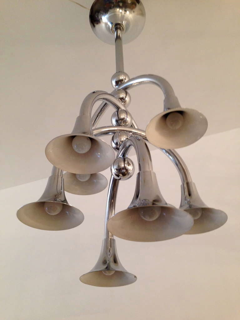 A rare 1960s chrome and white enamel large Italian ceiling fixture by Reggiani.
