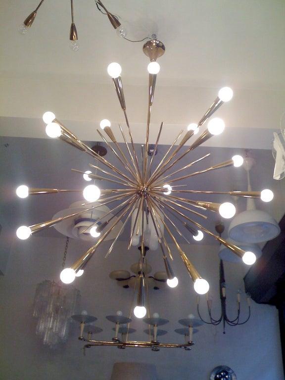 Pair of Large 1960s  Italian Mid Century Brass Starburst Sputnik Chandeliers 2