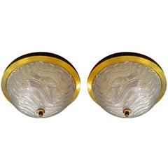 Pair of Kalmar Glass Flush Ceiling Lights