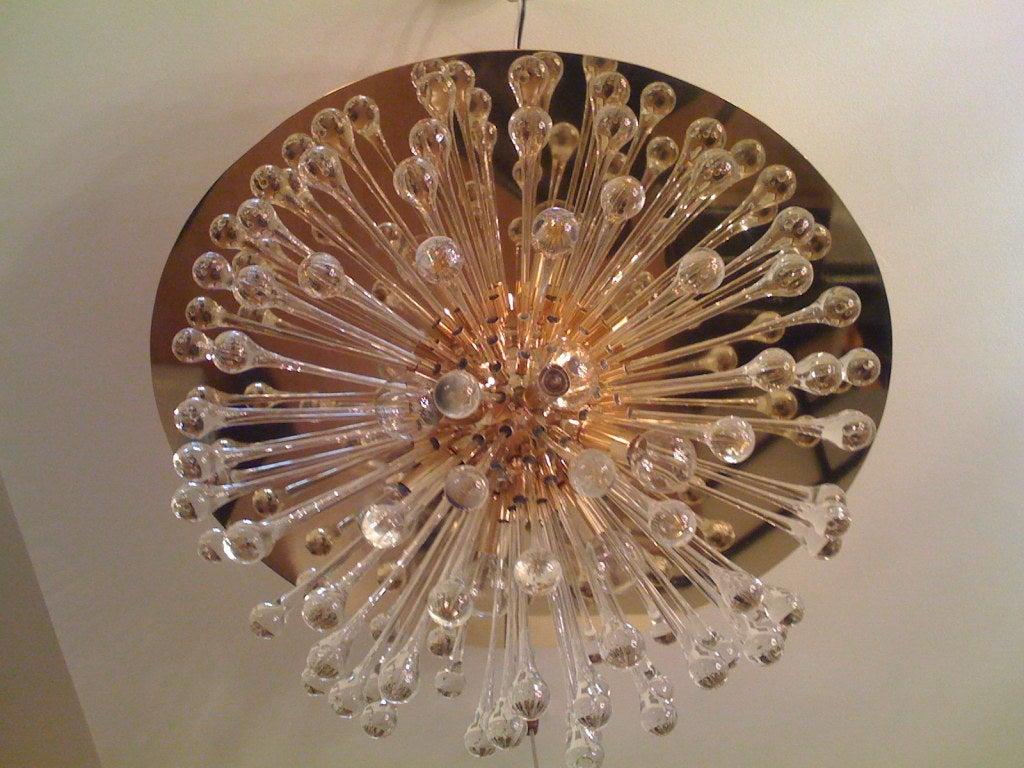 Brass Flush Italian Dandelion Chandelier For Sale