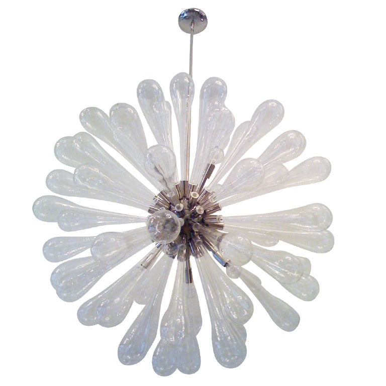 Large Murano Blown-Glass Chandelier For Sale