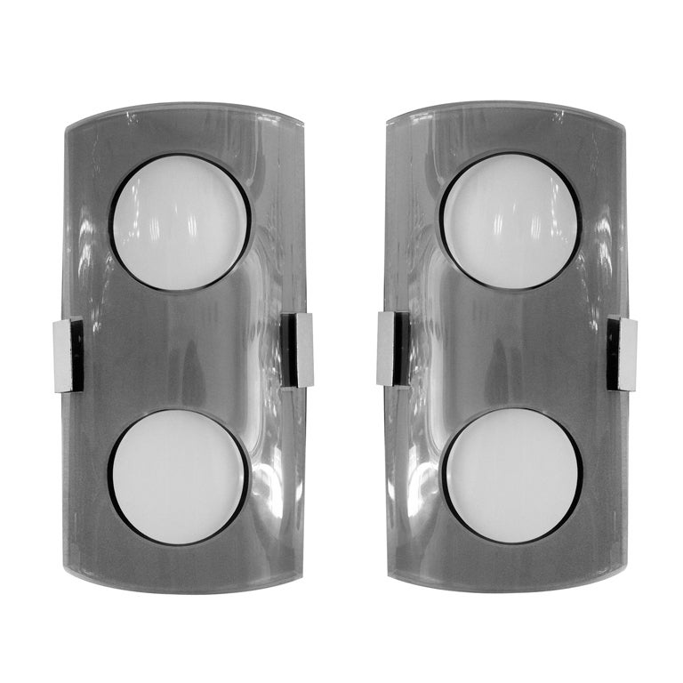 Pair of Italian 60's Glass Wall Lights
