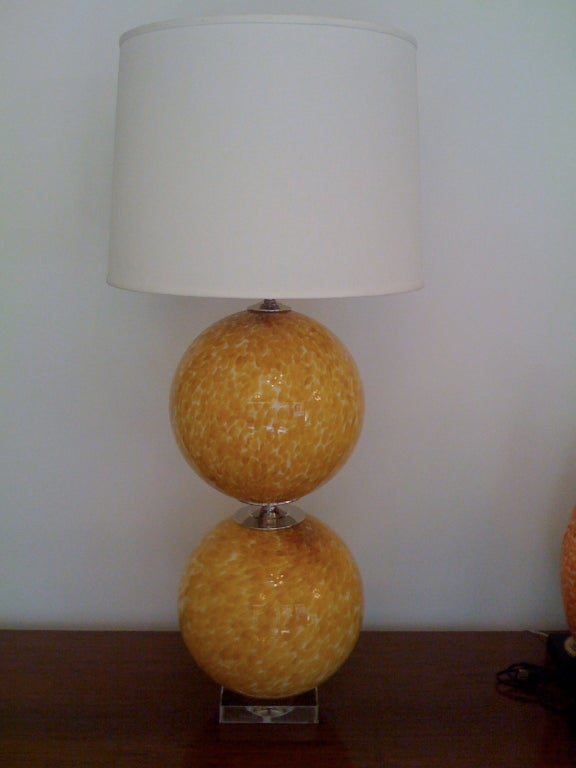 Glass Pair of Murano 1960s Table Lamps For Sale